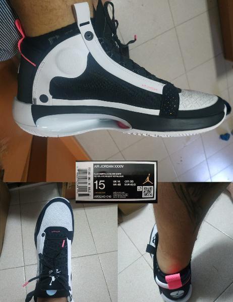 Nike air jordan xxxiv black / metallic silver whit