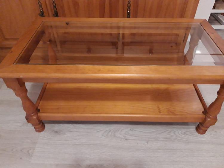 Mesa baja combinada madera y cristal