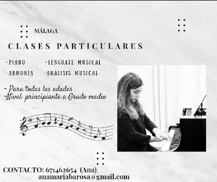 Clases de piano, lenguaje musical y canto