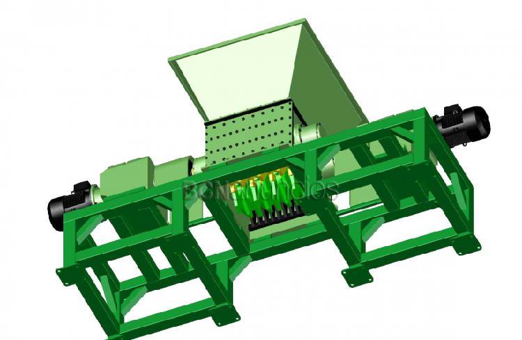 Triturador de dos ejes. planos de las piezas y montaje.