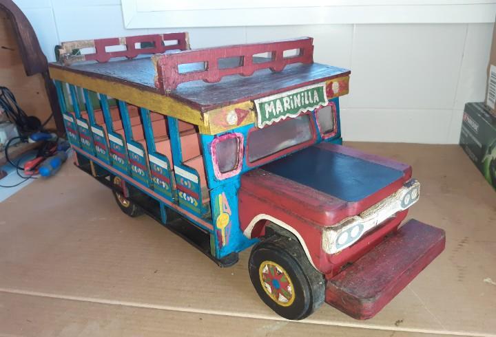 Antiguo autobús madera tipo denia juguete