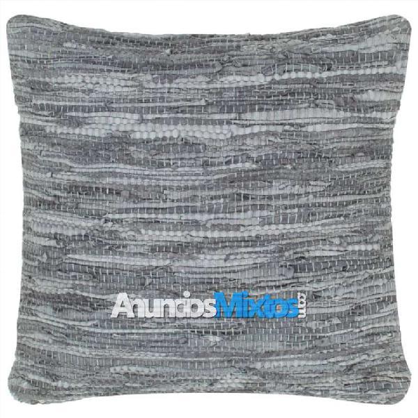 Cojín chindi de cuero y algodón gris 60x60 cm