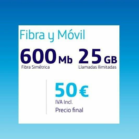 Fibra 600mb + movil 25gb y llamadas ilimitadas o2