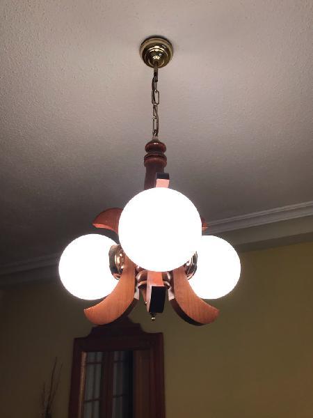 Lámpara de techo pino y bombos cristal