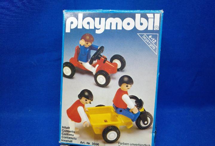 Playmobil niños con triciclo y car ref 3596