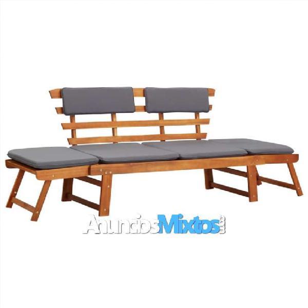 Sofá cama de jardín 2 en 1 con cojín madera maciza