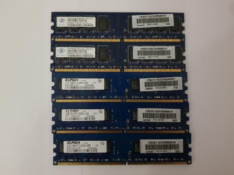 5 piezas lenovo fru 41x1081 2gb pc2-6400u ddr2 800