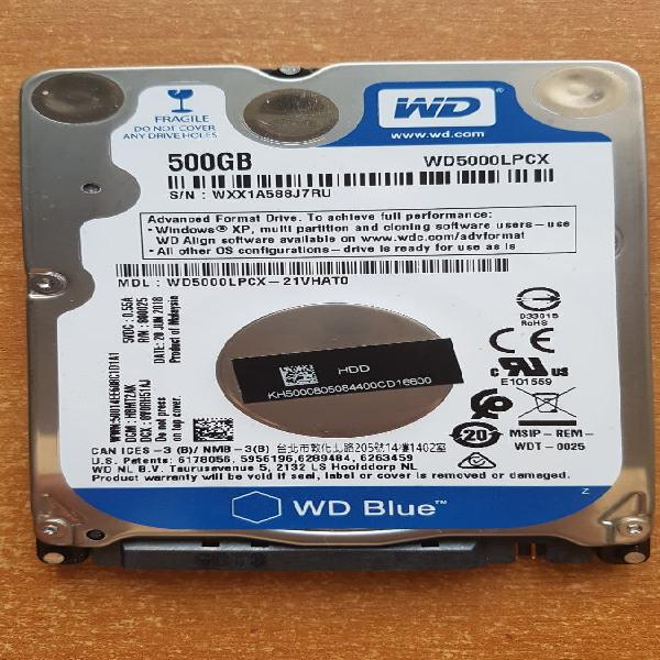 "Disco duro western digital 500gb 2.5"" interno"