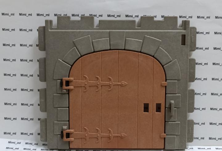 Playmobil pared piedra castillo medieval puerta madera muro