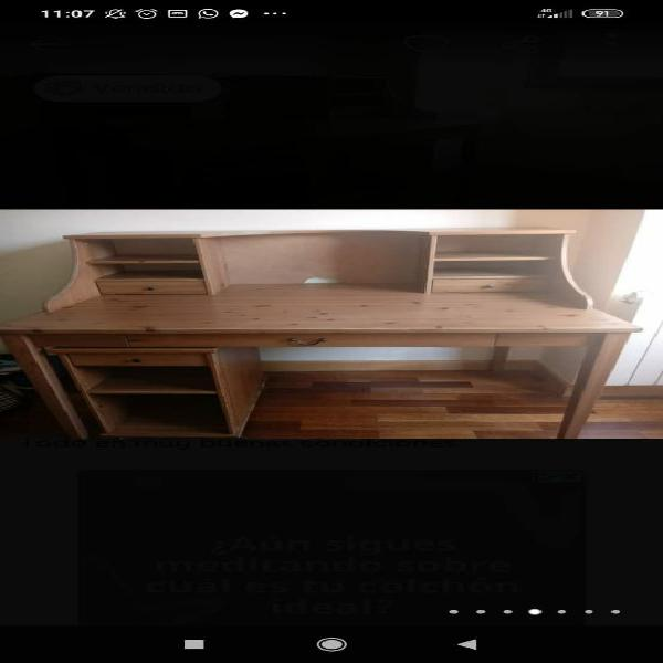 Mesa escritorio madera maciza + cajonera