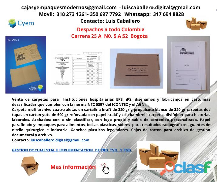 CARPETAS PARA ARCHIVO DE HISTORIA CLINICA EN PROPALCOTE DESA 1