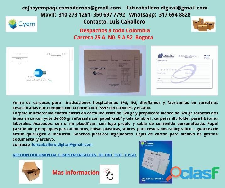 CARPETAS PARA ARCHIVO DE HISTORIA CLINICA EN PROPALCOTE DESA 2