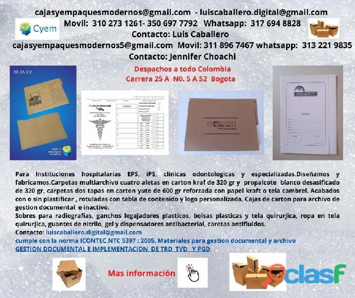 CARPETAS PARA ARCHIVO DE HISTORIA CLINICA EN PROPALCOTE DESA 3