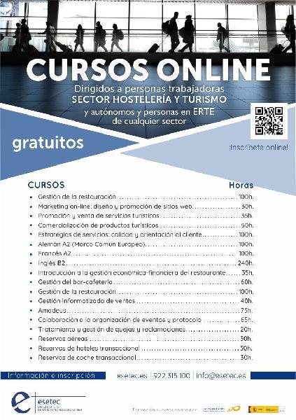 Cursos online gratuitos sector hostelería y turismo