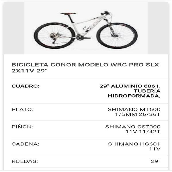 Mtb wrc conor pro slx modelo 2018 talla m