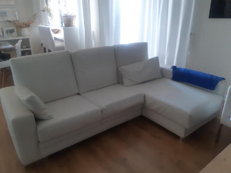 Sofá chaise lounge polipiel blanco