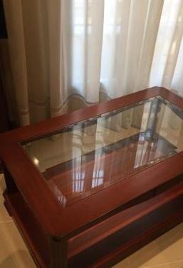 Mesa madera cristal