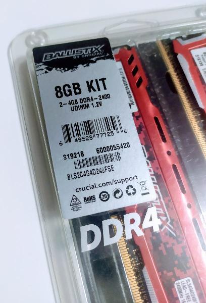 8gb ddr4 memoria ram ballistix crucial 2400mhz