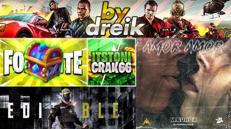 Diseños para canales de youtube, redes sociales...