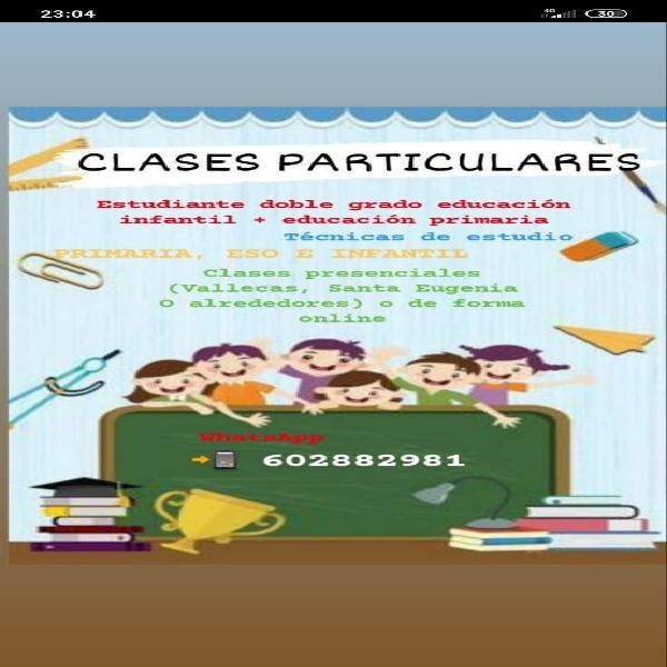 Clases particulares, estudio infantil y primaria