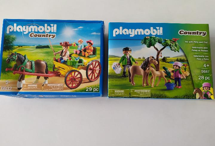 Lote playmobil country - carro con caballo y veterinario con