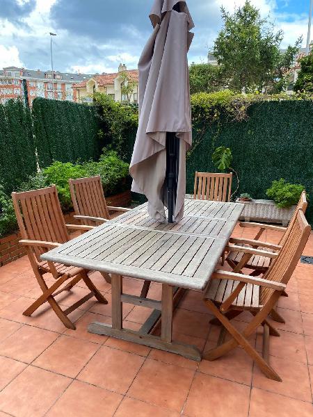 Mesa jardín ampliable madera teca con sillas