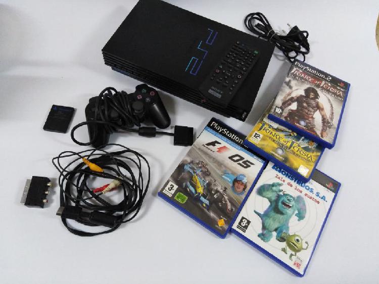 Consola play station ps2 + mando + 4 juegos