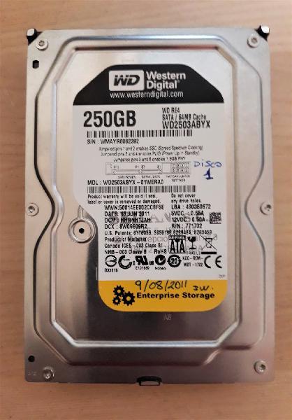 Disco duro wd2503abyx, de 250gb sata excelente est