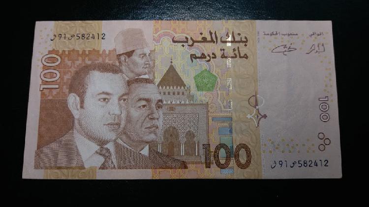 Marruecos billete de 100 dirhams 2002 tres reyes