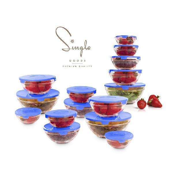 Set de 15 boles de cristal tapa azul
