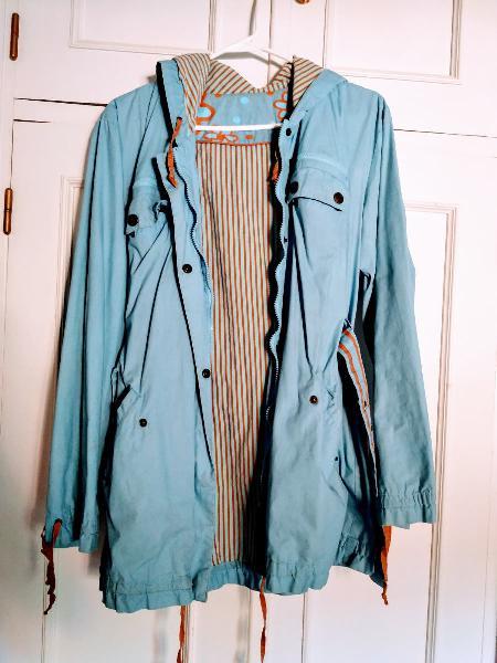 Abrigo impermeable azul, parka impermeable mujer