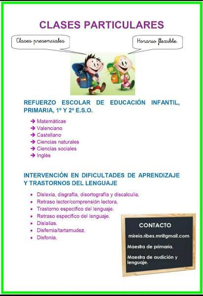 Clases particulares infantil, primaria y 1°y 2°eso