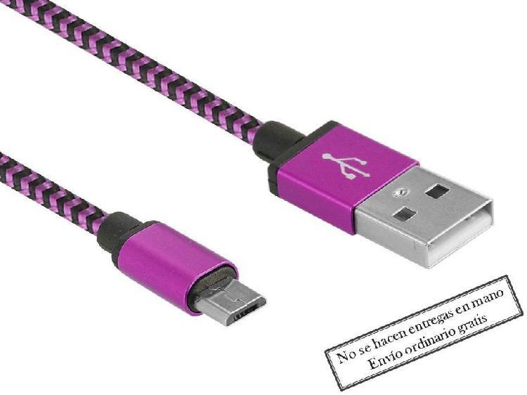 Cable cargador móvil tablet rosa micro usb