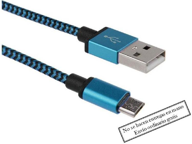 Cable cargador móvil tablet azul micro usb