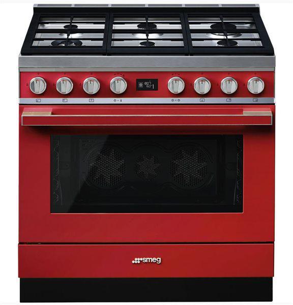 Smeg cpf9gmr - cocina con placa de gas y horno eléctrico