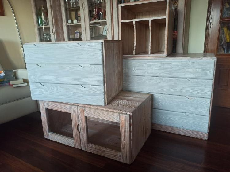 Lote muebles de madera maciza