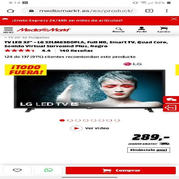 Tv 32 full hd smart tv, bluetooth y wi-fi