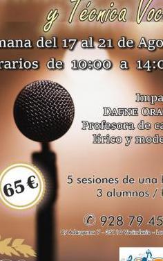 Curso intensivo de canto y técnica vocal