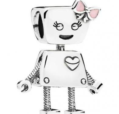 Charms pulsera pandora robot hada plata