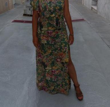 Vestido largo estampado mujer