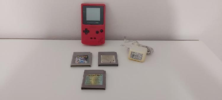 Game boy color red cgb-001 + juegos +transformador