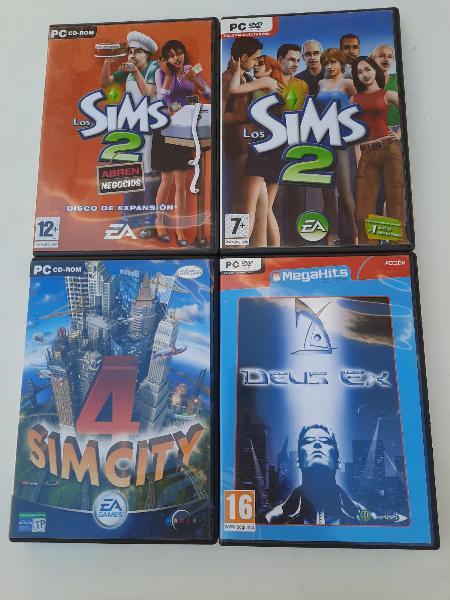 Lote juegos pc. los sims 2, sim city y deux ex