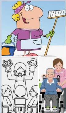Mujer española limpieza, cuidado niños y mayores