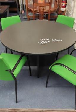 Mesa redonda negra sillas