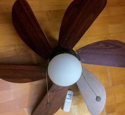 Ventilador techo de madera con mando a distancia