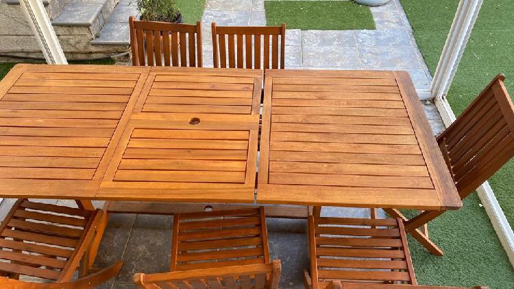 Conjunto mesa madera teca