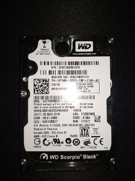 Disco duro sata 2.5 - western digital 160gb