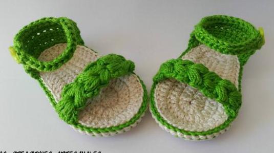 Sandalias hechas en mano en crochet