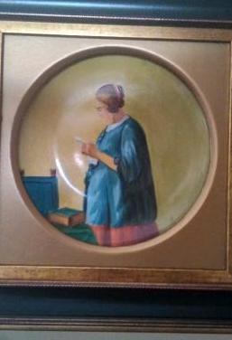 Plato antiguo pintado a mano ,al oleo, enmarcado