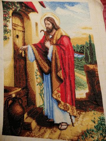 Arte bordado Jesus toca de la puerta